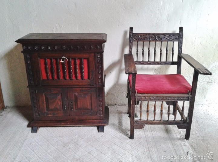 Antigüedades: Sillón frailero antiguo, sillón estilo renacimiento, Luis XIII. Sillón español, sillón castellano. - Foto 7 - 56742620