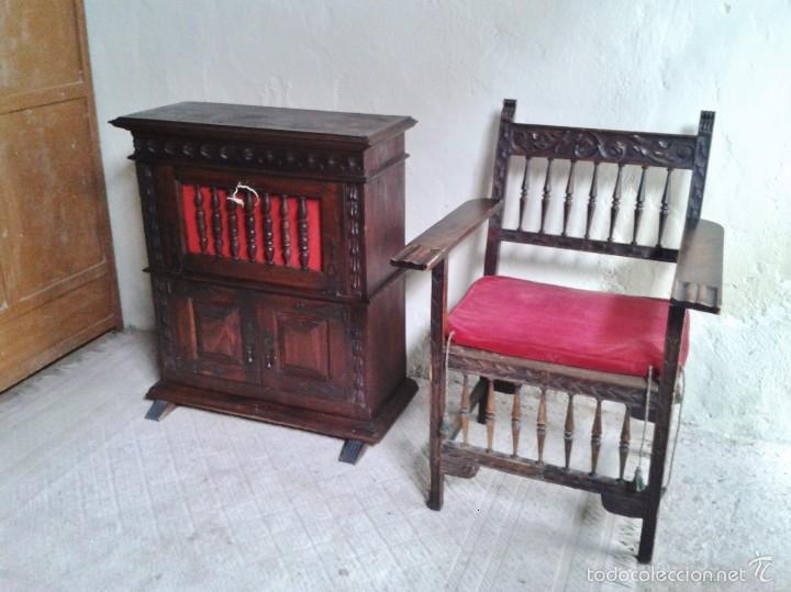 Antigüedades: Sillón frailero antiguo, sillón estilo renacimiento, Luis XIII. Sillón español, sillón castellano. - Foto 8 - 56742620