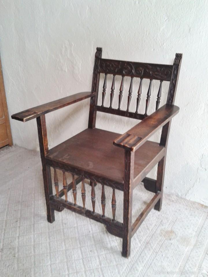 Antigüedades: Sillón frailero antiguo, sillón estilo renacimiento, Luis XIII. Sillón español, sillón castellano. - Foto 9 - 56742620