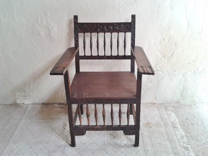 Antigüedades: Sillón frailero antiguo, sillón estilo renacimiento, Luis XIII. Sillón español, sillón castellano. - Foto 10 - 56742620