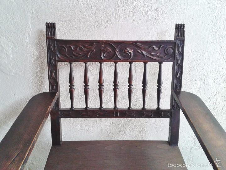 Antigüedades: Sillón frailero antiguo, sillón estilo renacimiento, Luis XIII. Sillón español, sillón castellano. - Foto 11 - 56742620