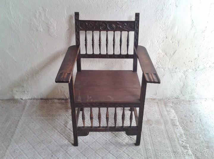 Antigüedades: Sillón frailero antiguo, sillón estilo renacimiento, Luis XIII. Sillón español, sillón castellano. - Foto 13 - 56742620