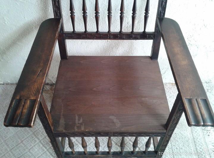 Antigüedades: Sillón frailero antiguo, sillón estilo renacimiento, Luis XIII. Sillón español, sillón castellano. - Foto 14 - 56742620