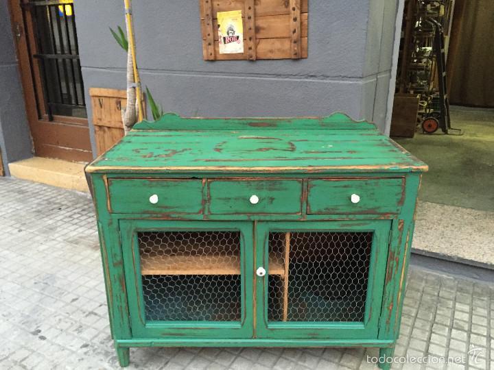 Mueble alacena recuperado con tela de galliner comprar - Tiradores muebles antiguos ...
