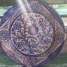 Antigüedades: ANTIGUO PLATO DE FAJALAUZA PINTADO A MANO.. Lote 56745542