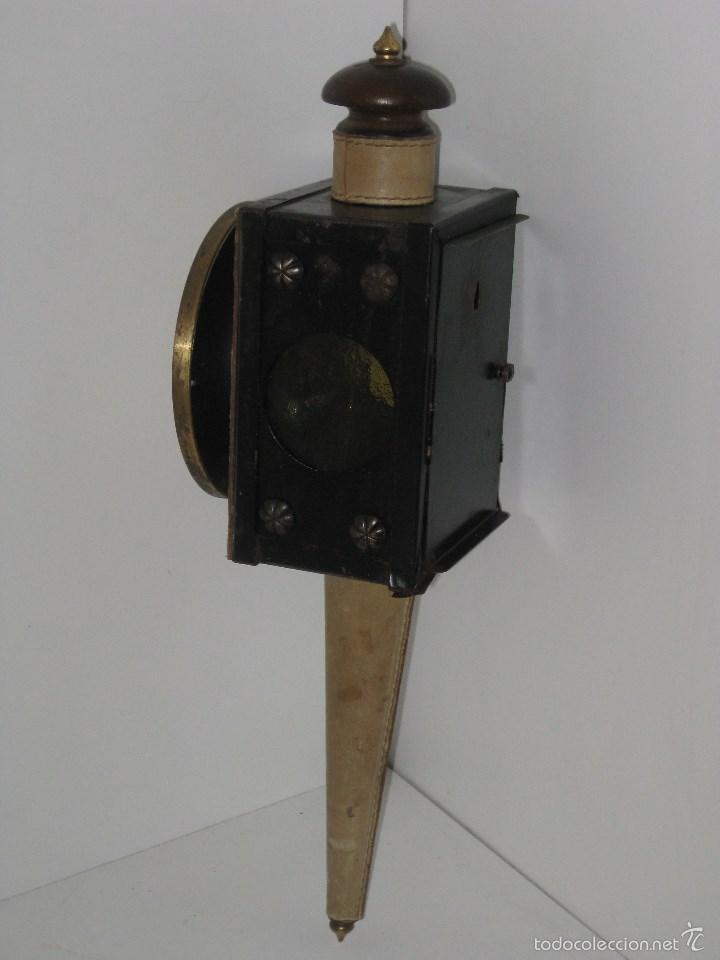 Antigüedades: farol antiguo de carroza (reloj) - Foto 4 - 56803530