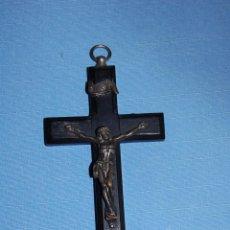 Antigüedades: CRUCIFIJO EN METAL Y MADERA. Lote 56810867