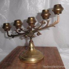 Antigüedades: CANDELABRO DE 5 BRAZOS DE BRONCE. Lote 56824757
