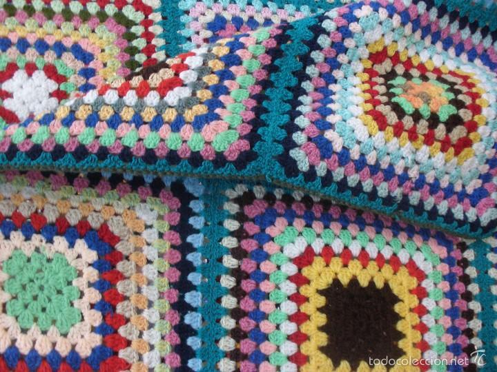 Colcha de lana multicolor en punto a ganchillo comprar for Colchas de punto de lana