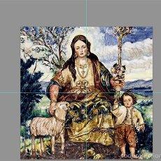 Antigüedades: RETABLO 4 AZULEJOS 15X15 CTM DE LA DIVINA PASTORA DE CANTILLANA. Lote 56829932