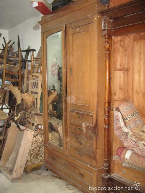 ARMARIO LIBRERIA PUERTA CRISTAL CAJÓN BAJO 4 CAJONES VISTOS ROBLE - PINO VIEJO (Antigüedades - Muebles Antiguos - Armarios Antiguos)