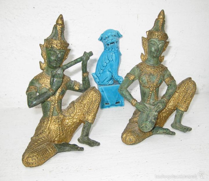 Figuras Bronce Patina Verde Y Oro Musicos Buda Comprar Figuras - Decoracion-figuras