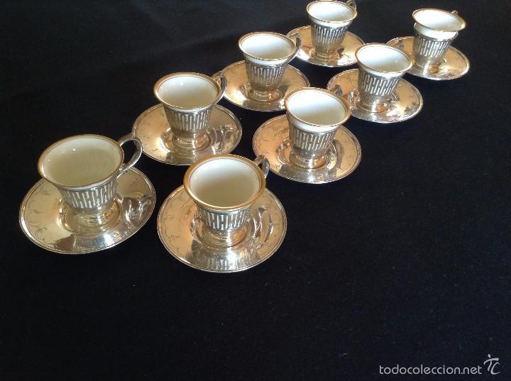 Antigüedades: Taza con plato de café y cuenco de porcelana muy fina, antigua de plata de ley. - Foto 2 - 56845150