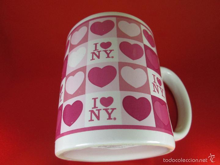 TAZÓN-COFFE MUG-YO AMO N.Y.-10X8 CMS-BUEN ESTADO-VER FOTOS. (Antigüedades - Porcelanas y Cerámicas - Azulejos)