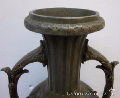 Antigüedades: JARRON FLORERO EN METAL BRONCEADO - ESTILO ISABELINO - Foto 4 - 56847870