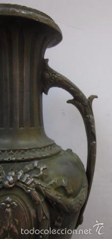 Antigüedades: JARRON FLORERO EN METAL BRONCEADO - ESTILO ISABELINO - Foto 8 - 56847870