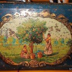 Antigüedades: PEQUEÑA CAJA DE METAL MODERNISTA DE PRODUCTOS VALENCIANOS. Lote 56847920
