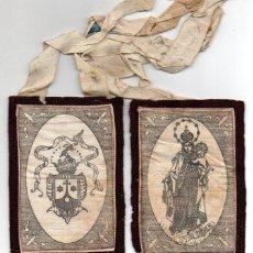 Antigüedades: ESCAPULARIO ANTIGUO NUESTRA SEÑORA DEL CARMEN, TELA COSIDA SOBRE FIELTRO. Lote 56855502