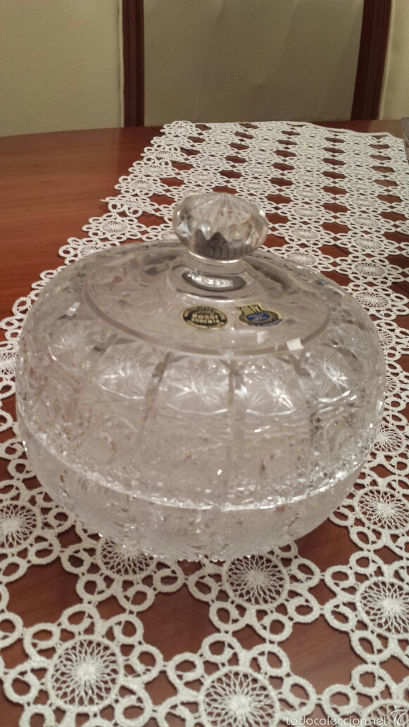 ESPECTACULAR BOMBONERA CRISTAL DE BOHEMIA TALLADO Y SOPLADO 500PK 24% PBO (Antigüedades - Cristal y Vidrio - Bohemia)