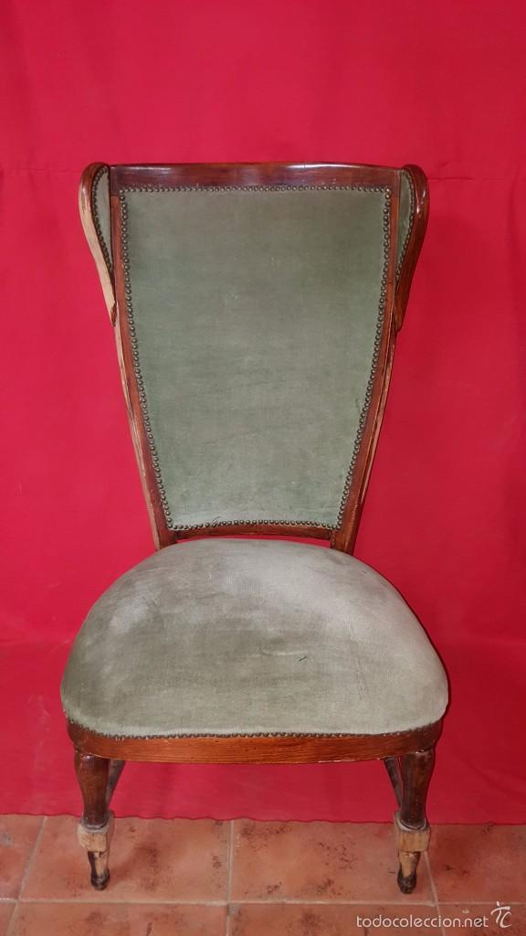 Antigüedades: Original silla alta años 30 con dos orejas para restaurar. - Foto 2 - 56871054
