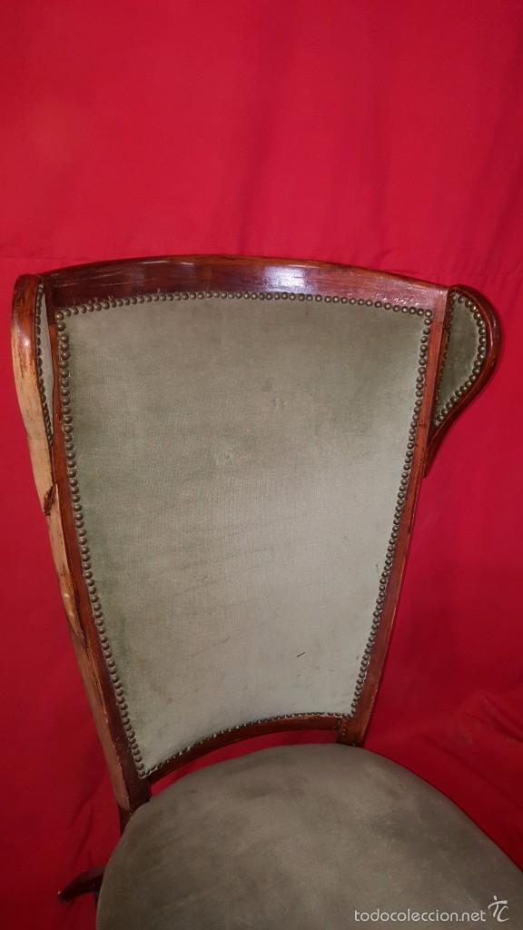 Antigüedades: Original silla alta años 30 con dos orejas para restaurar. - Foto 5 - 56871054