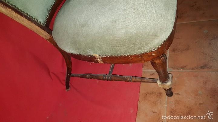 Antigüedades: Original silla alta años 30 con dos orejas para restaurar. - Foto 6 - 56871054