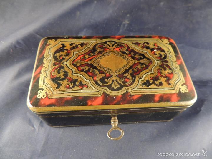 Antigüedades: CAJA JOYERO DE MARQUETERIA BOULLE FANTASTICA - Foto 2 - 56871243