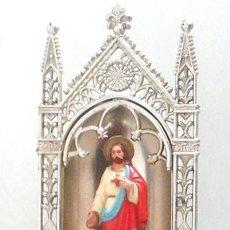 Antigüedades: IMAGEN DEL SAGRADO CORAZÓN DE JESÚS CON SU CAPILLA, DE ÉPOCA. Lote 56888453