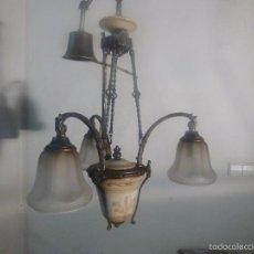 Antigüedades: LAMPARA DE BRONCE Y TULIPAS. Lote 56891879