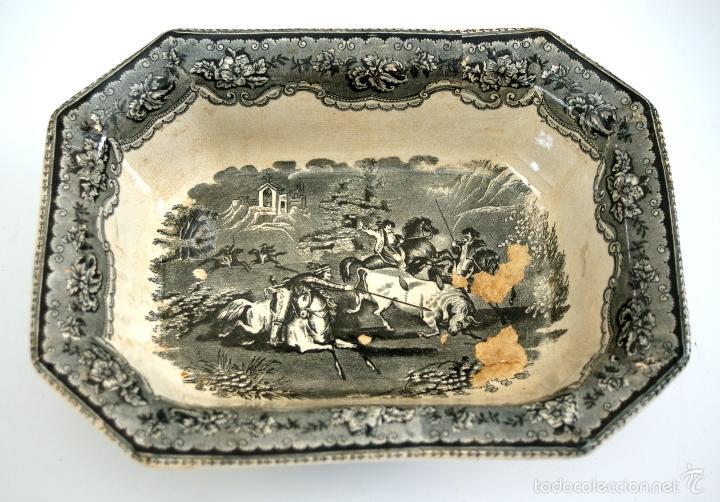 Antigüedades: CARTAGENA - ENSALADERA OCHAVADA DE LA SERIE CINEGETICA - S. XIX - Foto 6 - 56894354