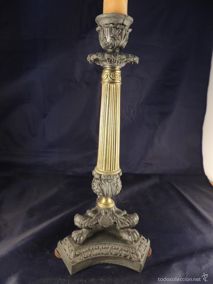 Antigüedades: CANDELERO CANDELABRO DE BRONCE CARLOS X - Foto 2 - 56904280
