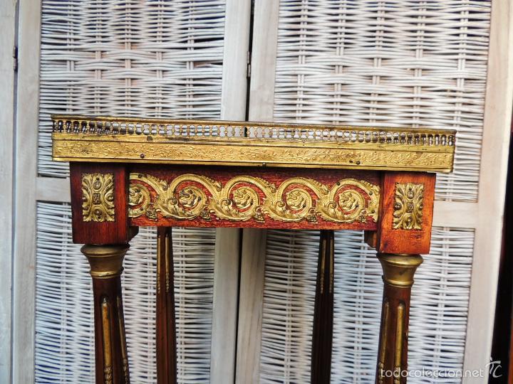 Antigüedades: PEANA DE CAOBA DE EPOCA NAPOLEON III CON TAPA DE MARMOL - Foto 3 - 56904384