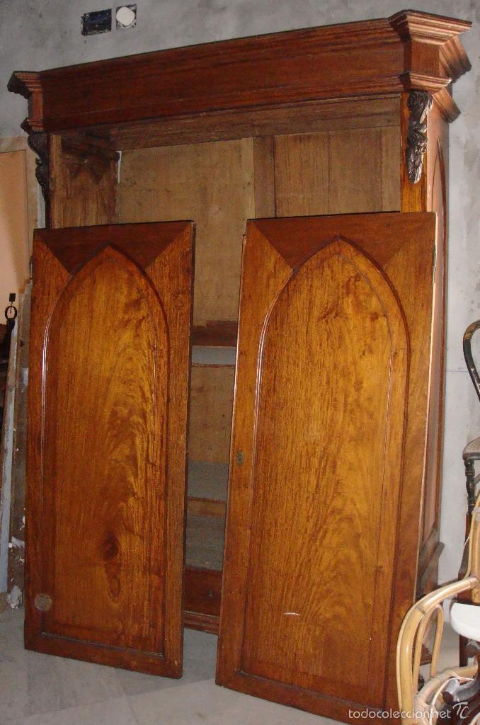 MAGNIFICO ARMARIO. S.XIX. CAOBA RUBIA. INTERIOR DE CEDRO. LUNAS INTERIORES. (Antigüedades - Muebles Antiguos - Armarios Antiguos)