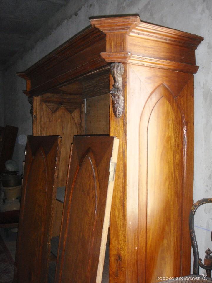 Antigüedades: Magnifico Armario. S.XIX. Caoba rubia. Interior de Cedro. Lunas interiores. - Foto 2 - 56914632