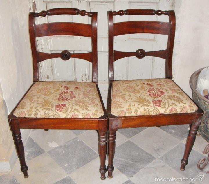 PAREJA DE SILLAS DE COMEDOR. S.XIX. CAOBA MACIZA. (Antigüedades - Muebles Antiguos - Sillas Antiguas)