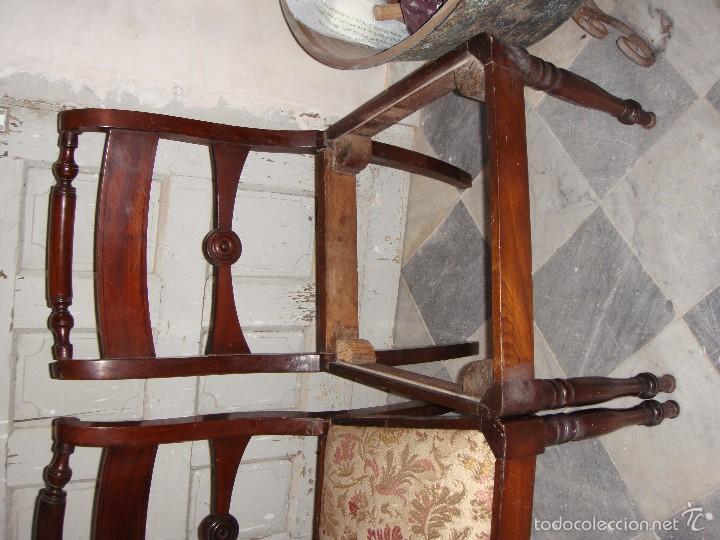 Antigüedades: Pareja de Sillas de Comedor. S.XIX. Caoba Maciza. - Foto 2 - 56924122