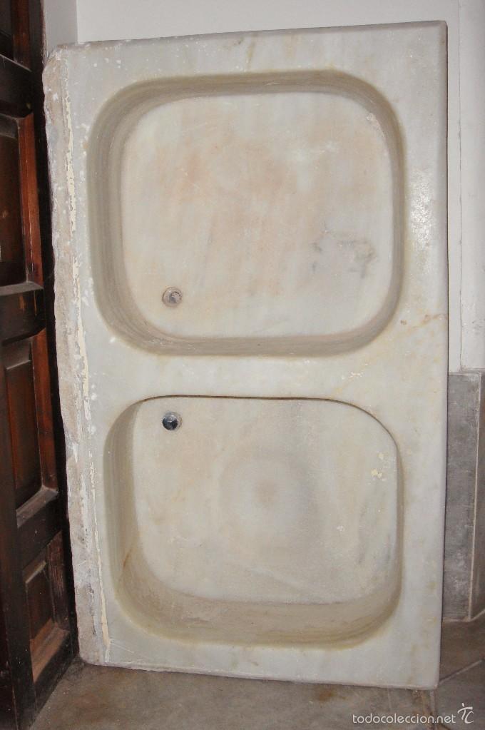 Antigua pica pila o fregadero de m rmol con 2 comprar utensilios del hogar antiguos en - Fregadero marmol ...