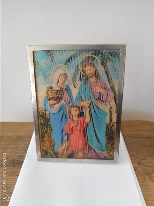 CUADRO VIRGEN MARÍA, JOSÉ Y JESÚS (Antigüedades - Religiosas - Varios)