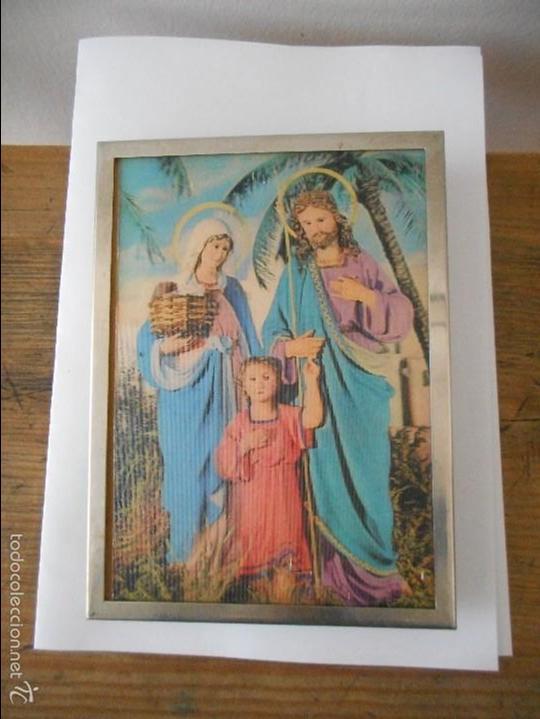 Antigüedades: Cuadro Virgen María, José y Jesús - Foto 2 - 56925086