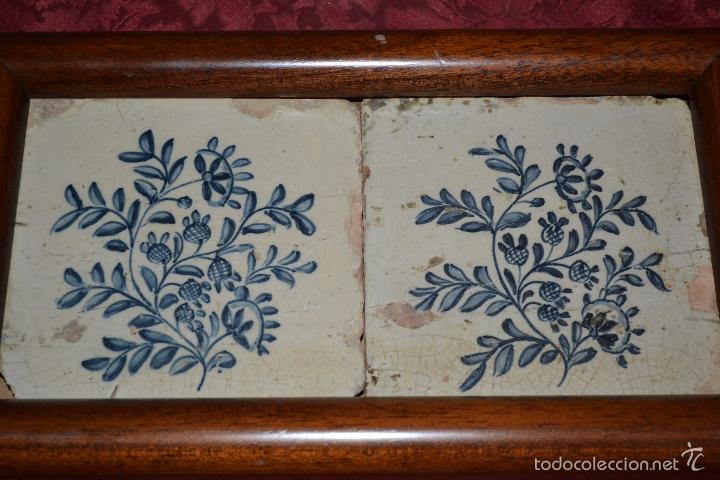 Antigüedades: MAGNIFICA PAREJA DE AZULEJOS ENMARCADOS EN CERAMICA DE TRIANA,(SEVILLA),S. XVIII-XIX - Foto 3 - 56927354