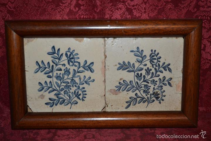 Antigüedades: MAGNIFICA PAREJA DE AZULEJOS ENMARCADOS EN CERAMICA DE TRIANA,(SEVILLA),S. XVIII-XIX - Foto 8 - 56927354