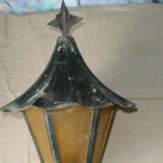 Antigüedades: DOS ANTIGUOS FAROLES PARA EXTERIOR. FAROL DE HIERRO. Lote 56942426
