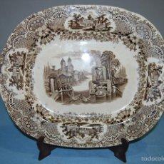 Antigüedades: ANTIGUA BANDEJA EN PORCELANA DE LA CASA PICKMAN CARTUJA SEVILLA CON SELLO IMPRESO DE 1840 A 1850. Lote 71671825