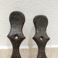 Antiquitäten - pareja de portavelas de madera labrada - 56948426