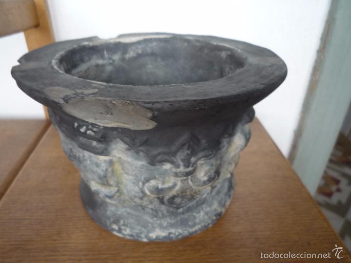 Antigüedades: ALMIREZ Mortero Terrissa CERÁMICA NEGRA CATALANA años 40 Motivo heráldico ESCUDO FLOR DE LIS ¡Raro! - Foto 13 - 56955226