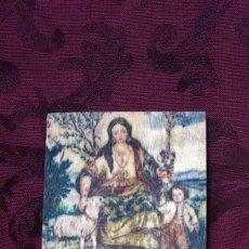 Antigüedades: NOVEDAD!! BONITA PLACA DE MADERA 10X10 DE LA PASTORA DE CANTILLANA. Lote 56956238