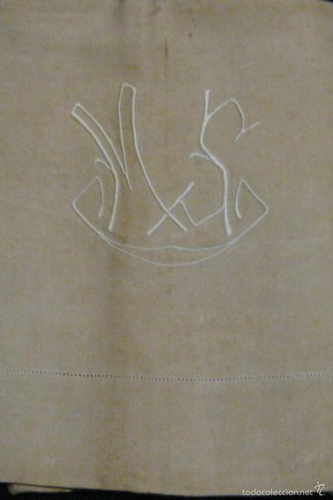 Antigüedades: ANTIGUA SÁBANA DE CÁÑAMO CON VAINICA E INICIALES BORDADAS A MANO PPIO.S.XX - Foto 3 - 56961931