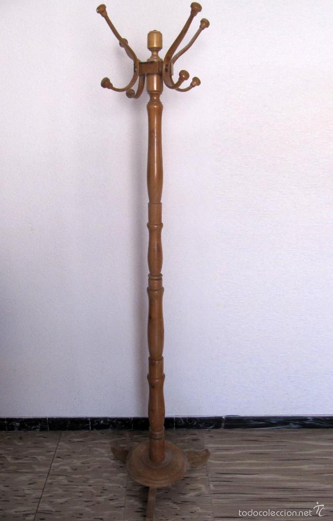Antiguo perchero de pie de madera de 8 brazos comprar - Percheros de pie antiguos ...