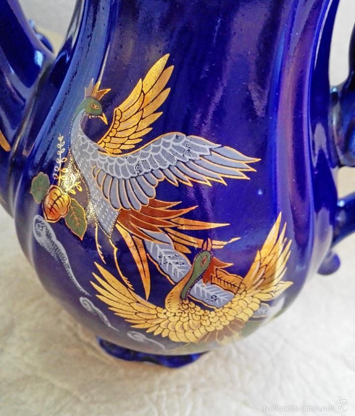 Antigüedades: juego te cafe porcelana tazas platos tetera azul y dorado japon EIHO - Foto 4 - 56994639