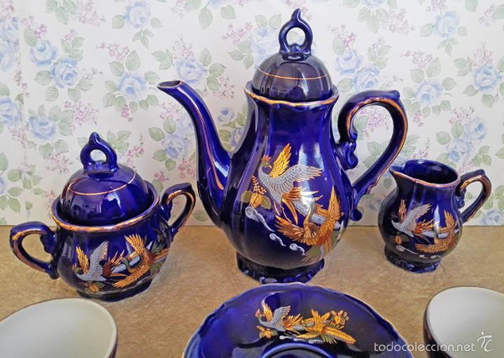 Antigüedades: juego te cafe porcelana tazas platos tetera azul y dorado japon EIHO - Foto 5 - 56994639